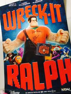 Signed/Autographed Wreck It Ralph Movie Poster