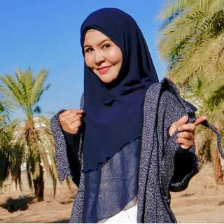 Khimar Bonda Double Layer-Dark Blue
