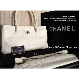 """CLASSIC CHANEL White Caviar Leather Reissue Turn lock 15 """"Cerf Tote Bag w Pouch"""