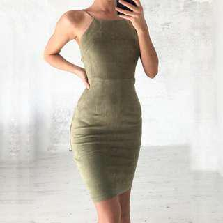 """Swayed"" Suede Midi Dress"