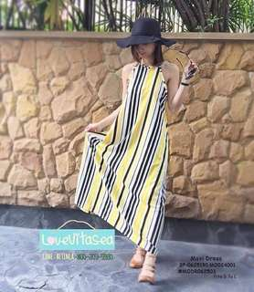 MAXI DRESS  💋Yellow Stripe Maxi Dress 💫Milky spandex fabric, thick soft 💫Stripe design 💫Free size fits up to L 💫Single color 💫Nice quality  Price : 350