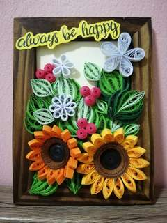 ''always be happy'' paper quilling in photo frame