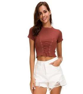Crew Neck Lace Up Crop Top 101831 FM
