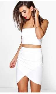 White Asymmetric Mini skirt