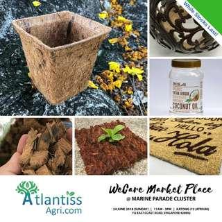 Biodegradable Pots, Cocopeat, Coir Fibre, Burnt Rice Husk, Coconut Husk Chips and more