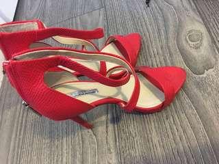 Red sandal heels