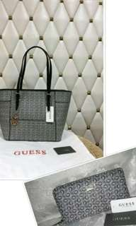 AUTHENTIC GUESS MINI TOTE AND ZIPPY WALLET SET