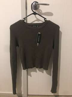 Khaki Cropped Sweater