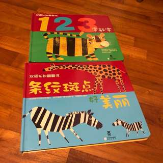 1-2T EUC 2x Bilingual English Mandarin book set numbers and patterns