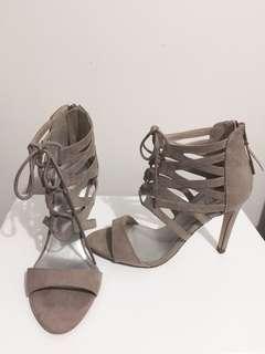 Beige Lace Up Heels