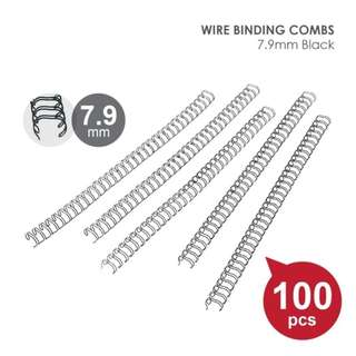 Wire Binding Spines, Double Loop Wire 7.9mm, 9.5mm & 12.7mm 100pcs/Pack