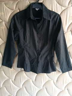 Black Long Sleeves Polo / Blazer / Blouse