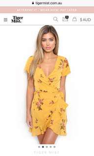 Tiger Mist wrap dress yellow