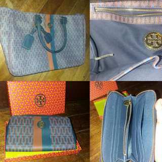 Tory burch kerrington leather matching bag and wallet