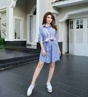 Ec Emily Dress l atasan fashion baju blouse dress salur dress pita dress blue baju kerja wanita