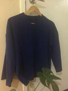 Blue basic wide sleeves sweater