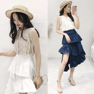 Knitted Top with Asymmetrical Tiered Skirt