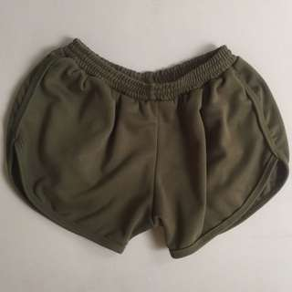 Army green dolphin shorts