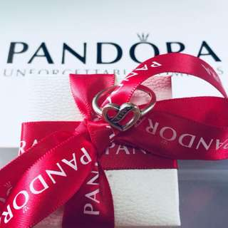 Pandora Ribbons of Heart Ring with Zirconia Stones 92.5 Sterling Silver (Available Sizes 5-9)