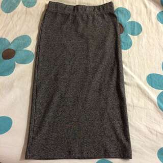 H&M BASIC FITTED GRAY LONG SKIRT