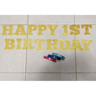Alphabets / Numbers come with Ribbon (Pink, Blue, Light Blue) together to foam a Banner for Baby Shower, Birthday Party, Kids Party