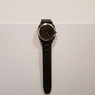 FREE Gold Detail Black Rubber Strap Watch