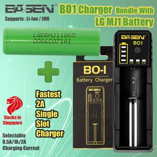 Basen BO1 Single Slot Rapid Charger Bundle With LG MJ1  3500mAh 10A 18650 Battery