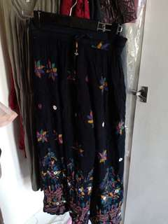 embroidered with mirror maxi skirt
