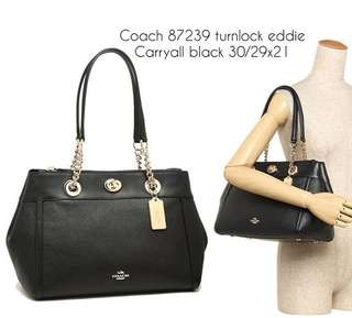 Coach turnlock eddie carryall black sz 30/29x21