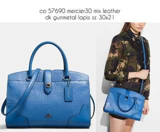 Coach 57690 Mercer 30 mix leather dk gunmetal lapis sz 30x21