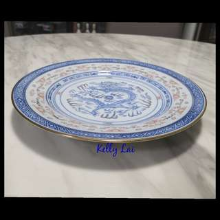 Vintage Rice Grain Design Plate 金边彩花米通圆碟