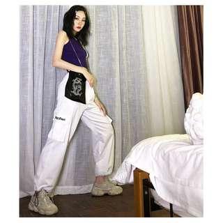 VM ins運動風 學生 寬鬆可調節 嘻哈束腳 原宿直筒 收腳顯瘦休閒長褲 白色