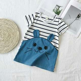 Toddler-Girls Cute Rabbit Mouse Design Striped Short sleeve Dress