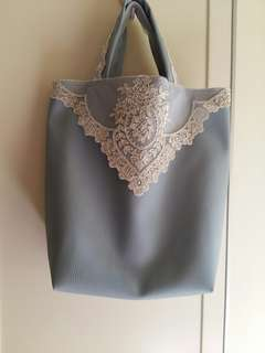 Handmade PU Bag lace blue