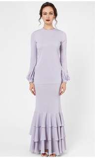 Locka Ruffle Kurung Ash Lilac Size M