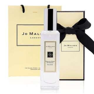 🚚 附原廠提袋緞帶紙盒黑色雪梨紙[現貨] 英國代購 英國JO MALONE 英國梨與小蒼蘭香水 30ml