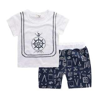 【BABYWEAR】【CLOTHING】【BOY】PCS0005 BABY BOY WHITE SAILOR TOP & SHORT SET