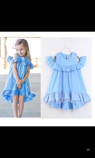 PO Kids Sky blue off shoulder dress brand new size 90-130cm brand new