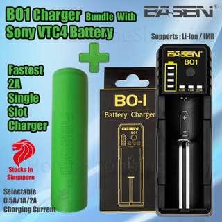 Basen BO1 Single Slot Rapid Charger Bundle With Sony VTC4  2100mAh 30A 18650 Battery