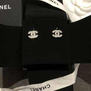 NEW Chanel Classic Silver Small Crystal Rhinestone Earrings! AUTHENTIC!