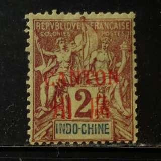 [lapyip1230] 法國在華客郵局 1901年 航海商貿女神 CANTON 廣州 加蓋票 貳仙 新票 Mint