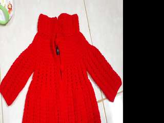 Sweater rajut baby girl warna merah