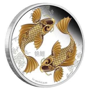 Feng Shui Silver Coin -Koi 2012 Year