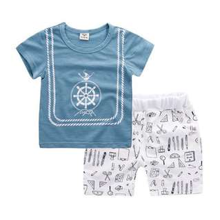 【BABYWEAR】【CLOTHING】【BOY】PCS0005 BABY BOY GIRL BLUE SAILOR TOP & SHORT SET