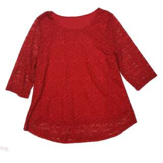Red long sleeved lace top