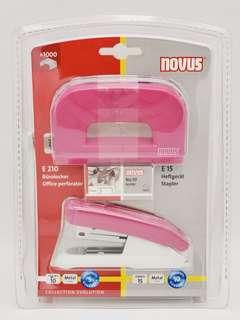 全新德國NOVUS粉紫色E15型號釘書機十E210號打窿機套裝