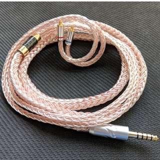 耳機升級線 純人手編製 訂做 8絞 [德國 7N 單晶銅鍍銀混單晶銅] MMCX 4.4mm平衡直插