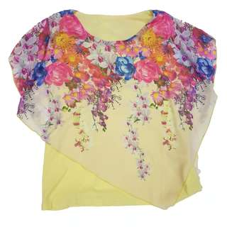 Yellow floral flowy top