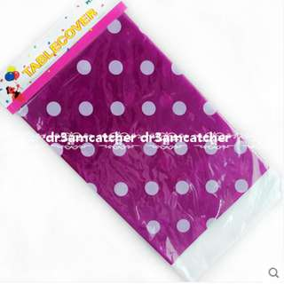 Purple polka dot disposable table cover