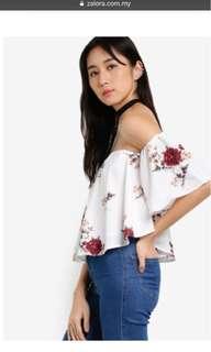 Something Borrowed flora off shoulder top